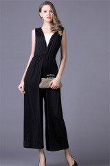 35a0a5599f ... Simple V Neck Ankle Length Black Jersey Special Occasion Evening Party  Jumpsuit. Add to Cart
