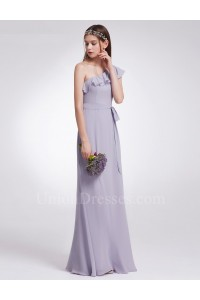 Elegant One Shoulder Lavender Chiffon A Line Prom Bridesmaid Dress With Ruffles And Sash