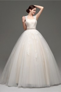 Ball Gown Cap Sleeve Open Back Champagne Satin Tulle Lace Wedding Dress With Sash Bow