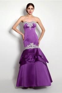 Mermaid Strapless Purple Satin Applique Evening Prom Dress