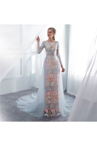 311f14e5abd Stunning Sheath Scoop Long Sleeve Champagne Lace Dusty Blue Tulle Prom  Evening Dress