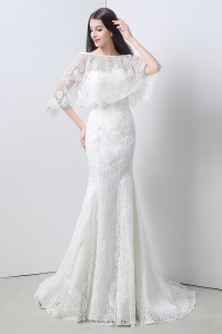 Slim Mermaid Strapless Vintage Lace Corset Wedding Dress With Shawl