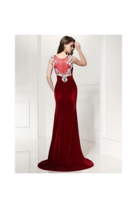 f0d574f5ab22 Mermaid Boat Neck Sheer Back Crystal Beaded White Appliques Red Velvet Prom  Evening Dress back