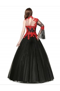 Ball Gown High Neck One Shoulder Crystal Beaded Red Appliques Black Tulle Prom Evening Dress back