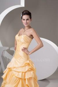 Beautiful A Line Sweetheart Corset Crystal Beaded Orange Taffeta Prom Evening Dresses
