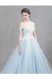 Romantic Off The Shoulder Corset Embellished Lace Bodice Light Blue Tulle Skirt Ball Gown Prom Evening Dress
