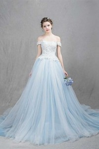 b12ef3d6fe Romantic Off The Shoulder Corset Embellished Lace Bodice Light Blue Tulle  Skirt Ball Gown Prom Evening Dress