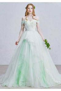 Romantic Off The Shoulder Corset Embellished Appliques Layered Mint Green Tulle Ball Gown Prom Quinceanera Dress