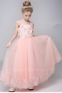 419f4adefe4 ... Tulle Lace Flower Girl Dress With Cap Sleeve Straps Bow lightbox  moreview · lightbox moreview