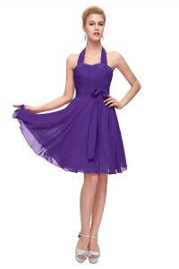 A Line Halter Corset Short Purple Chiffon Party Bridesmaid Dress With Sash