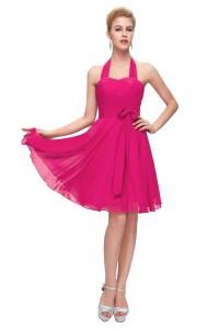 A Line Halter Short Hot Pink Chiffon Party Bridesmaid Dress With Sash