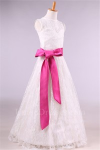 a276eb5a37a A Line High Neck Lace Flower Girl Dress With Hot Pink Sash lightbox  moreview · lightbox moreview