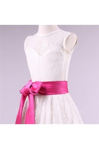 9f41c93cbba A Line High Neck Lace Flower Girl Dress With Hot Pink Sash lightbox  moreview · lightbox moreview · lightbox moreview