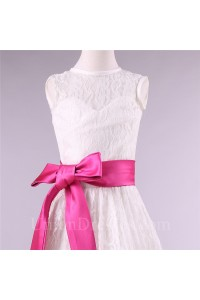 bcafeabe36b A Line High Neck Lace Flower Girl Dress With Hot Pink Sash lightbox  moreview · lightbox moreview · lightbox moreview · lightbox moreview ·  lightbox moreview