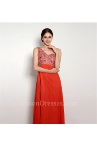 A Line One Shoulder Open Back Long Coral Chiffon Beaded Prom Dress
