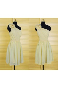 A Line One Shoulder Short Yellow Chiffon Party Bridesmaid Dress With Belt Flower