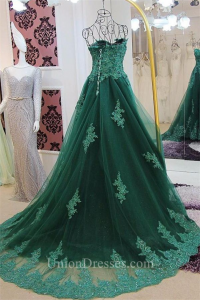 9ddc223d67c ... Corset Back Dark Green Tulle Lace Beaded Prom Dress lightbox moreview · lightbox  moreview