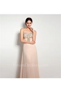 A Line Sweetheart Long Peach Chiffon Beaded Evening Prom Dress