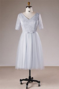 A Line V Neck Short Sleeve Silver Lace Plus Size Bridesmaid Prom Dress Bow Belt