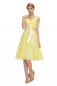 A Line V Neck Sleeveless Short Yellow Chiffon Bridesmaid Dress With Bow