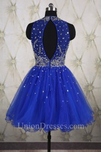 Ball Gown High Neck Open Back Short Royal Blue Tulle Beaded Prom Dress