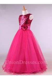 3e5ce1983da8 Ball Gown Hot Pink Tulle Sequin Little Girl Prom Dress With Flower