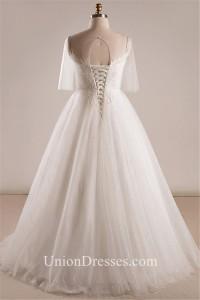 Ball Gown Illusion Neckline Tulle Sleeve Plus Size Wedding Dress ...