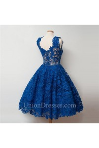 16f5185d8d7 Ball Gown Scalloped Neck Royal Blue Heavy Lace Short Prom Dress lightbox  moreview · lightbox moreview
