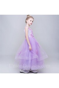 Ball Gown Scoop Neck Lilac Tulle Applique Little Girl Party Dress