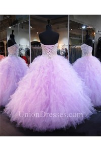 eb5de1dc59 Ball Gown Strapless Lilac Tulle Ruffle Pearl Beaded Quinceanera Prom Dress