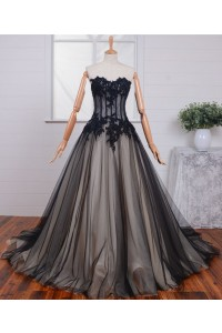 ball gown strapless see through black tulle lace beaded