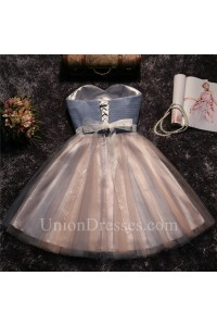 c9cef226c Ball Gown Strapless Two Tone Grey Tulle Ruched Short Prom Dress Beaded Sash  lightbox moreview · lightbox moreview