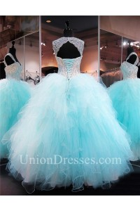 Ball Gown Sweetheart Corset Aqua Tulle Ruffle Puffy Quinceanera Prom Dress