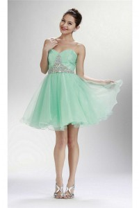 Ball Gown Sweetheart Short Mint Green Tulle Beaded Cocktail Prom Dress