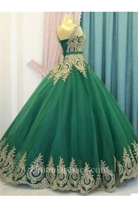 7df7953b91b ... Emerald Green Tulle Gold Lace Prom Dress Corset Back lightbox moreview  · lightbox moreview