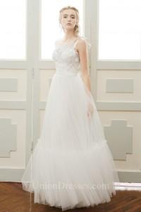 afe4b41490 Bateau Neckline Low V Back Sleeveless Lace Tulle Outdoor Boho Wedding Dress  lightbox moreview · lightbox moreview