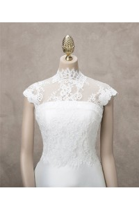 Beautiful High Neck Cap Sleeve Vintage Lace Wedding Bridal Jacket
