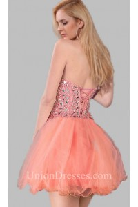 Beautiful Strapless Sweetheart Short Mini Coral Tulle Beaded Prom Dress