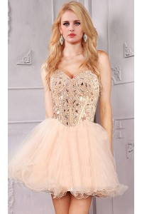 Beautiful Strapless Sweetheart Short Mini Champagne Tulle Beaded Prom Dress