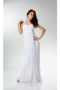 Charming Halter Empire Waist White Chiffon Destination Beach Wedding Dress