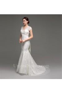 Charming Mermaid V Neck Cap Sleeve Lace Corset Wedding Dress With Sash Bow