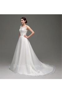Classic A Line Bateau Neck Low V Back Organza Lace Wedding Dress With Sash