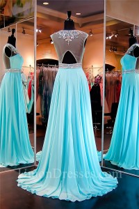 9036f3f5a9b60 Classy A Line Jewel Neckline Long Turquoise Chiffon Beaded Prom Dress  lightbox moreview · lightbox moreview