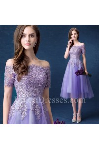 60a403c596f Cute Off The Shoulder Tea Length Lavender Tulle Lace Beaded Prom Dress With  Short Sleeves lightbox moreview · lightbox moreview