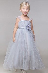 Cute Puffy Silver Tulle Flower Girl Dress With Straps And Sash