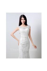 Elegant Mermaid Scoop Neck V Back Cap Sleeve Lace Wedding Dress With Sash Bow