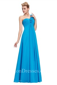 Elegant One Shoulder Empire Waist Long Pool Blue Chiffon Bridesmaid Dress