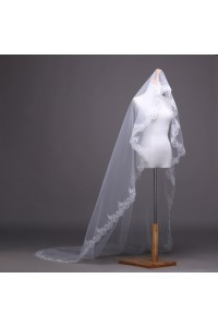 Elegant One Tier Tulle Lace Beaded Edge Wedding Bridal Cathedral Veil