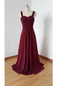 Elegant Sweetheart Empire Waist Long Burgundy Chiffon Bridesmaid Dress With Straps