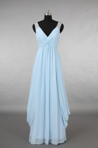 Elegant V Neck Empire Waist Long Light Blue Chiffon Draped Bridesmaid Evening Dress